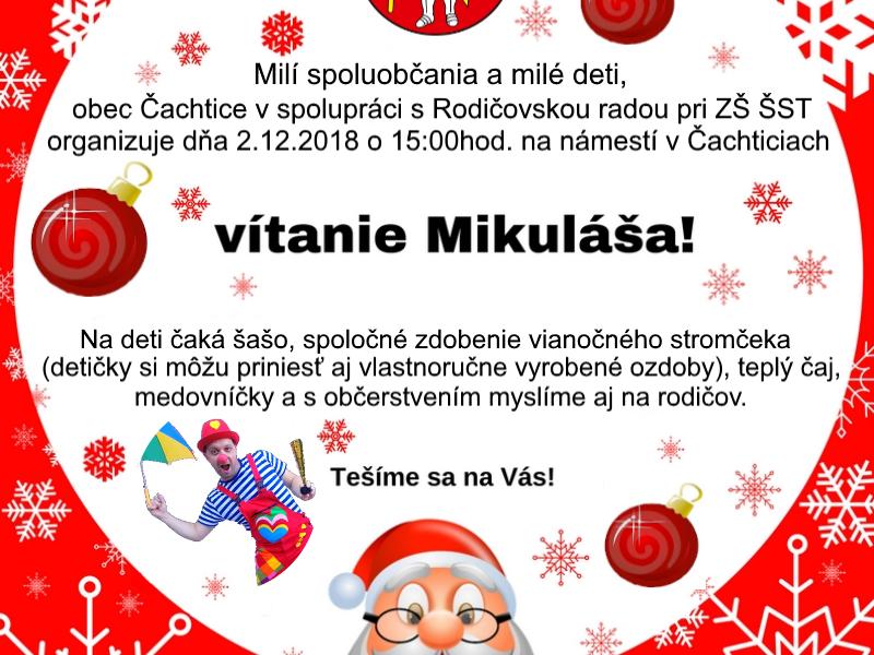 Vítanie Mikuláša v Čachticiach – program, predajné stánky…